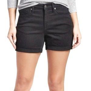 Mossimo black high rise midi denim shorts 28 6